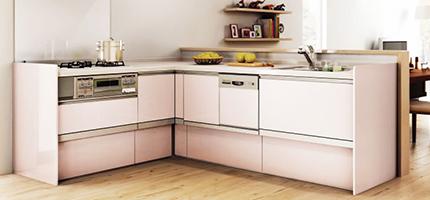 効率よく調理スペースを確保できるL型キッチン